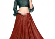 Up to 42% off on crop top lehengas at mirraw