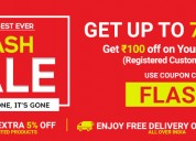 Up to 70% + flat 5% off flash sale online