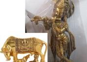 Kamdhenu cow-calf and lord krishna idol showpiece