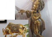 Brass lord krishna flute playing with  cow - calf