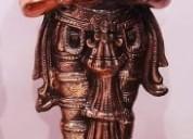 Black metal diya lady statue idol decorative show