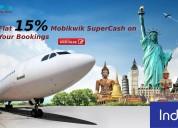 Flat 15% mobikwik supercash on your bookings