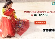Pattu silk chaderi sarees at rs 12,500