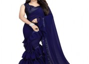 Women's georgette ruffle frill saree with blouse