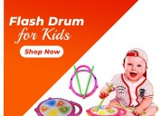 Battery operated musical multi-colored flash drum