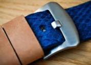 Blue salmon leather straps | purple salmon leather