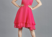 Buy women fit and flare pink dress from rajkumari