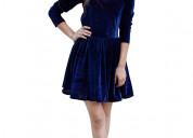 Buy women's navy blue short velvet dress