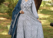 Buyhand block printed salwar suit online-myrastore