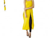 Shop casual sleeveless solid yellow top for women