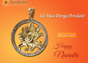 Jai maa durga pendant in gold with diamonds