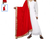 Shop velvet solid red dupatta for women at flipkar