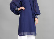 Shop navy blue kurti with neck cape for ladies onl