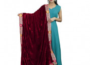 Shop multicoloured border velvet stone work dupatt