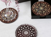 Select wooden coasters online from wooden street