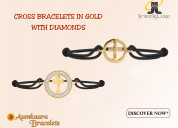 Gold cross bracelets with diamond