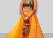 Buy yellow lehenga for haldi function online from
