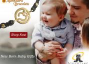New born baby om bracelet in gold