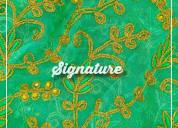 Buy kelly green organza fabric  with thread