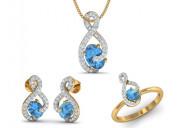 Adina blue topaz & diamond pendant set
