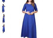 Shop blue solid a line dress at paytm mall