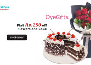 Flat rs.150 off flowers and cake