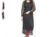 Shop black solid straight kurta at discounted rate