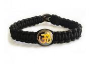 Gents om bracelet with gold on silver base