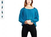 Shop georgette teal blue sleeves top online