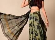 Latest ladies ajrak print sarees manufacturer indi