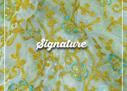 Buy golden floral pattern organza fabric