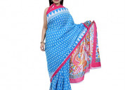 Latest design sanganeri print sarees