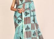 Manufacturer beautiful hand block print sarees