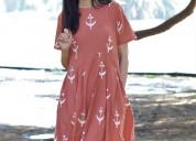 Peach blockprinted cotton pleated dress