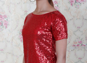 Buy red party wear tops for women
