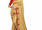 Embroidery swaroski saree with fancy blouse piece