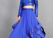 Buy royal blue multi skirt with sequins top for wo