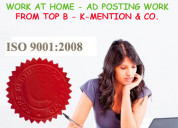 Simple home based ads posting work call 9898665104