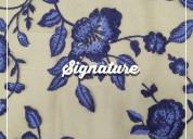Buy beige net fabric with indigo purple floral
