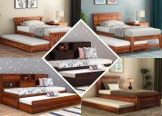 Buy wooden pull out trundle bed at low price