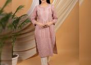 Dusty pink chikankari cotton kurta