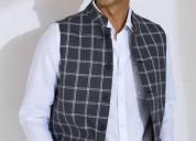 Shop designer linen nehru jacket for men