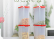 Tupperware oval dry storage containers 1.7l 4pc