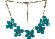 Beautiful blue floral designer statement necklace