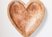 Solid wood serving heart tray